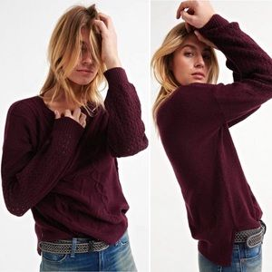 NWT Lucky Brand Maroon/Burgundy Cable Knit Sweater